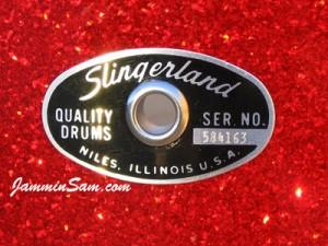 Eyelet close-up on Red Glass (Slingerland badge)