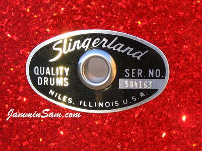 Photo close-up of eyelet on Red Glass (Slingerland badge)