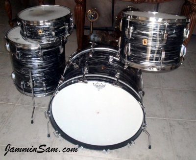 Photo of Doug Goethel's Ludwig drumset with 60's Black Oyster Pearl drum wrap (1)