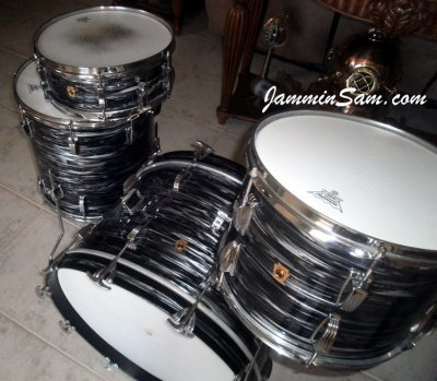 Photo of Doug Goethel's Ludwig drums with 60's Black Oyster Pearl drum wrap (4)