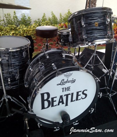 Photo of Doug Goethel's Ludwig drums with 60's Black Oyster Pearl drum wrap (5)