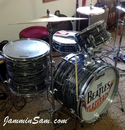 Photo of Kevin Pavlu's Tama drum set with 60's Black Oyster Pearl drum wrap (51)