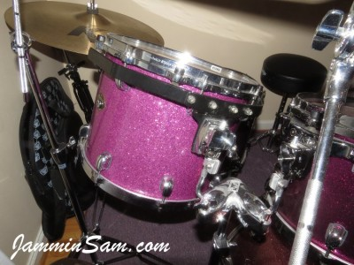 Photo of Jay Burnham's set of drums with Purple Glass Glitter drum wrap (14)