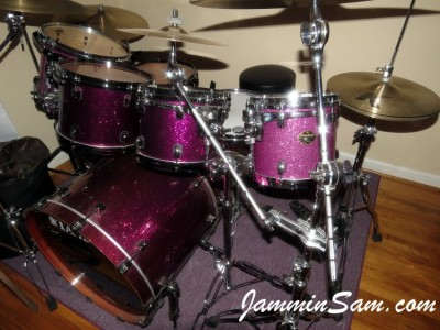Photo of Jay Burnham's set of drums with Purple Glass Glitter drum wrap (16)