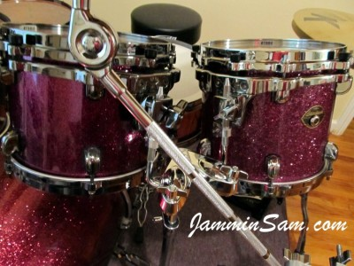 Photo of Jay Burnham's set of drums with Purple Glass Glitter drum wrap (35)