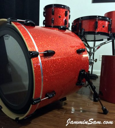 Photo of Dude Conrad's Pearl drums with Super Tangerine Glass Glitter drum wrap  (40)