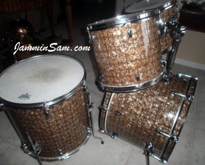 Photo of Doug Goethel's drumset with Golden Boa Pearl drum wrap (3)