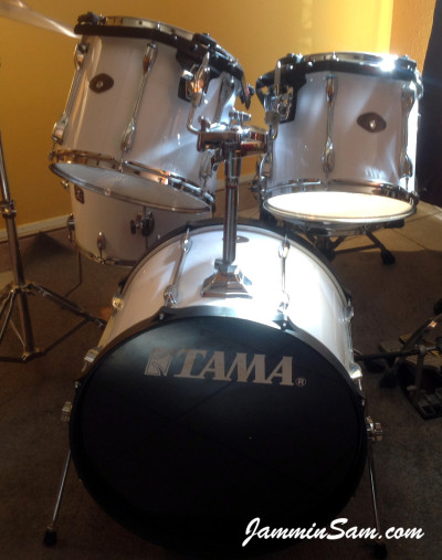 Photo of Robert Gonzales's Tama Rockstar with JS Hi Gloss White drum wrap (1)