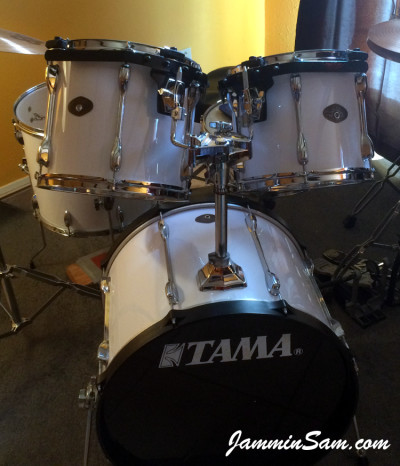 Photo of Robert Gonzales's Tama Rockstar drums with JS Hi Gloss White drum wrap (1)