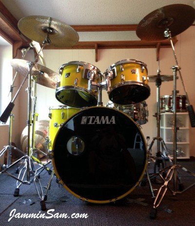 Photo of Franco Gomez's Tama Imperial Star drums with JS Vintage Yellow drum wrap (2)