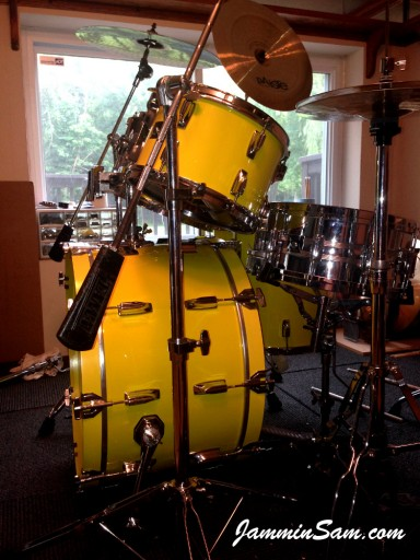 Photo of Franco Gomez's Tama Imperial Star drums with JS Vintage Yellow drum wrap (9)