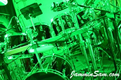 Photo of Jim Tomaselli's Pearl Maple drums with JS Hi Gloss Deep Red drum wrap (75)