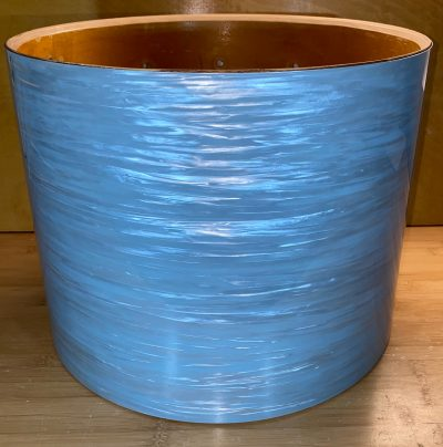 Photo of JamminSam's marching tom with JS Blue Ripple drum wrap