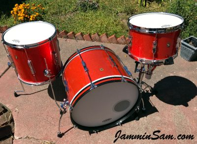 Photo of Mark Melvin's Ludwig drumset with JS Tangerine Sparkle drum wrap (2)