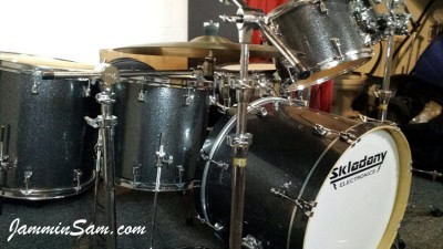 Photo of Brian Skladany's drums with JS Black and Silver drum wrap (3)