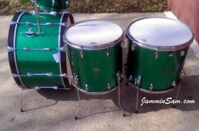 Photo of Matt Mozdziak's Slingerland drums with JS Sparkle Green drum wrap (50)