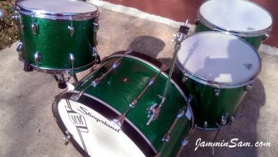 Photo of Matt Mozdziak's Slingerland drums with JS Sparkle Green drum wrap (56)