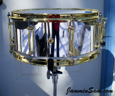 Photo of Matthew Andrew's snare drum with JS Mirror Chrome drum wrap (68)