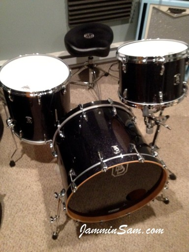 Photo of Jake Fiedler's drums with JS Sparkle Gold drum wrap (57)
