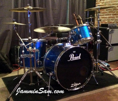 Photo of Andy Bishir's drum set with JS Blue Sparkle drum wrap (1)