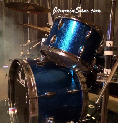 Photo of Andy Bishir's drum set with JS Blue Sparkle drum wrap (2)