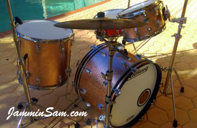 Photo of Doug Aronson's Ludwig Classic drums with JS Sparkle Champagne wrap (2)