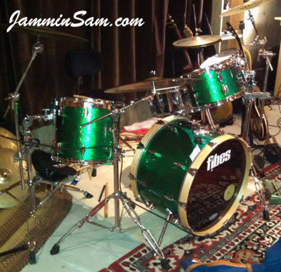 Photo of Bryan Beyer's drums with JS Sparkle Green drum wrap (12)