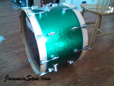 Photo of Bryan Beyer's bass drum with JS Sparkle Green drum wrap (35)