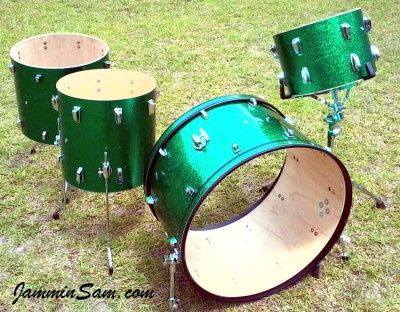 Photo of Jamie Willoughby's drum set with JS Sparkle Green drum wrap (31)