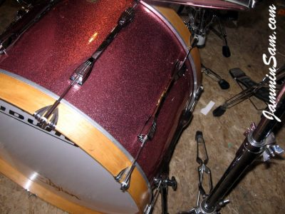 Photo of Dan Kendall's Ludwig bass drum with JS Pink Sparkle drum wrap (87)
