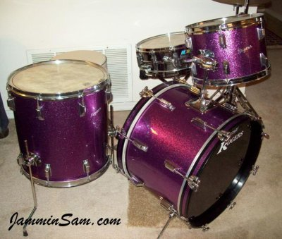 Photo of Rich Kline' Rogers drumset with JS Sparkle purple drum wrap (73)
