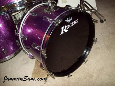 Photo of Rich Kline' Rogers drumset with JS Sparkle purple drum wrap (75)