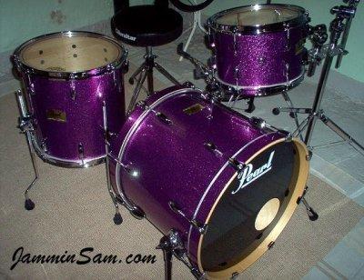 Photo of Rob Marsili's Pearl Studio Custom drumset with JS Sparkle Purple drum wrap (01)