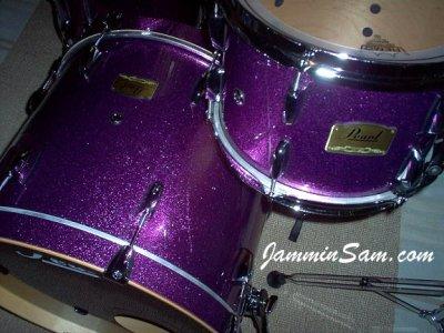 Photo of Rob Marsili's Pearl Studio Custom drumset with JS Sparkle Purple drum wrap (02)