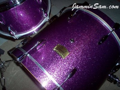 Photo of Rob Marsili's Pearl Studio Custom drumset with JS Sparkle Purple drum wrap (12)