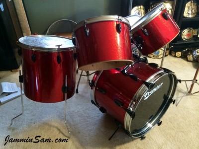 Photo of Derek Rodriguez's drum set with JS Sparkle Red drum wrap (2)