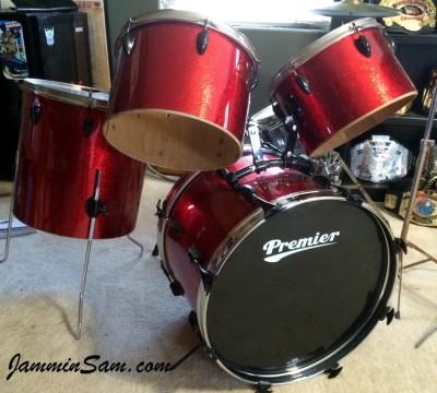 Photo of Derek Rodriguez's drum set with JS Sparkle Red drum wrap (3)
