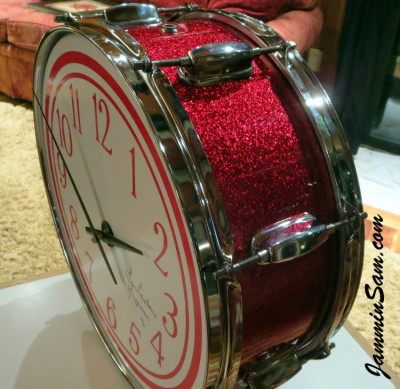 Photo of Lynn Easton's DrumClock with JS Sparkle Red drum wrap (6)