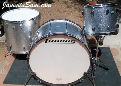 Photo of Bob Pritchard's Ludwig drumset with JS Sparkle Silver drum wrap (1)