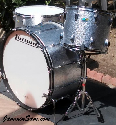 Photo of Bob Pritchard's Ludwig drumset with JS Sparkle Silver drum wrap (5)