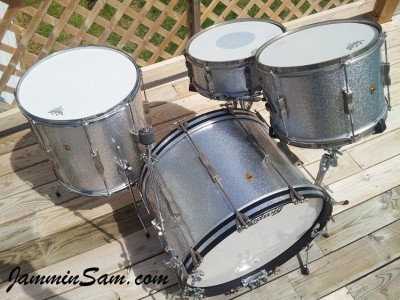 Photo of Dan Stahl's Ludwig drums with JS Sparkle Silver drum wrap (1)