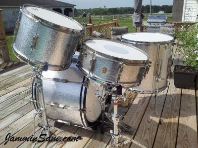 Photo of Dan Stahl's Ludwig drums with JS Sparkle Silver drum wrap (2)