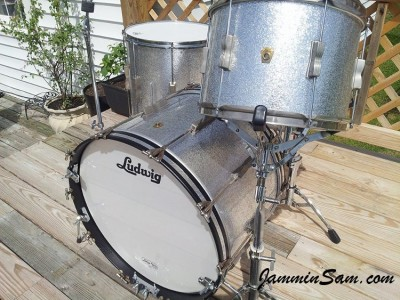 Photo of Dan Stahl's Ludwig drums with JS Sparkle Silver drum wrap (3)
