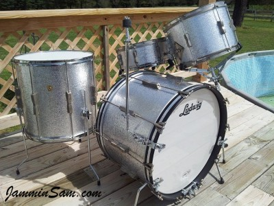 Photo of Dan Stahl's Ludwig drums with JS Sparkle Silver drum wrap (4)