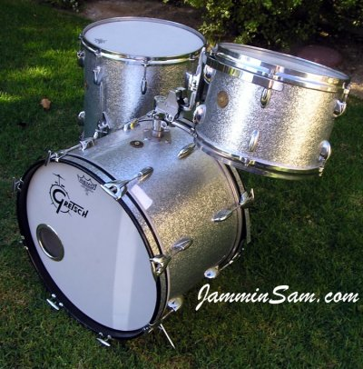 Photo of Gary Rock's drum set with JS Sparkle Silver drum wrap (74)