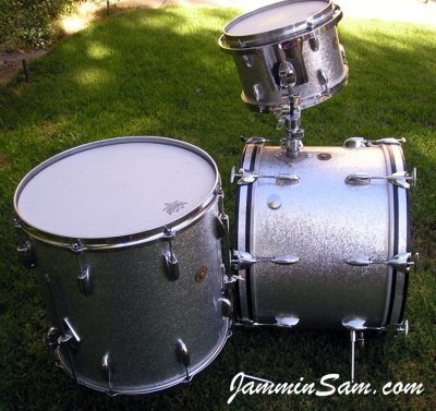 Photo of Gary Rock's drums with JS Sparkle Silver drum wrap (79)