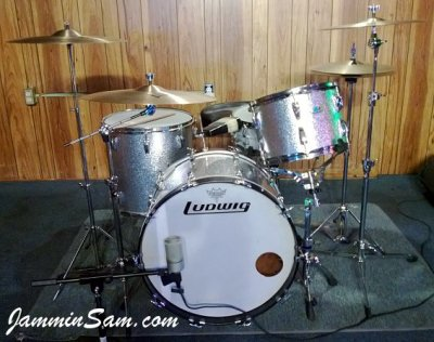 Photo of Mark Hopkins's Ludwig drums with JS Sparkle Silver drum wrap (3)