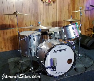 Photo of Mark Hopkins's Ludwig drums with JS Sparkle Silver drum wrap (4)