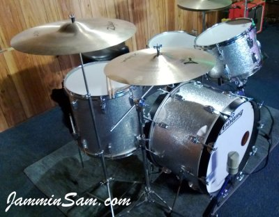 Photo of Mark Hopkins's Ludwig drums with JS Sparkle Silver drum wrap (6)
