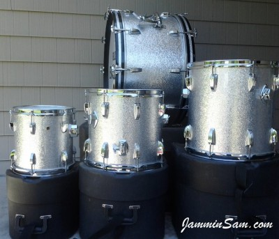 Photo of Steve Strickland's drums with JS Sparkle Silver drum wrap (2)s